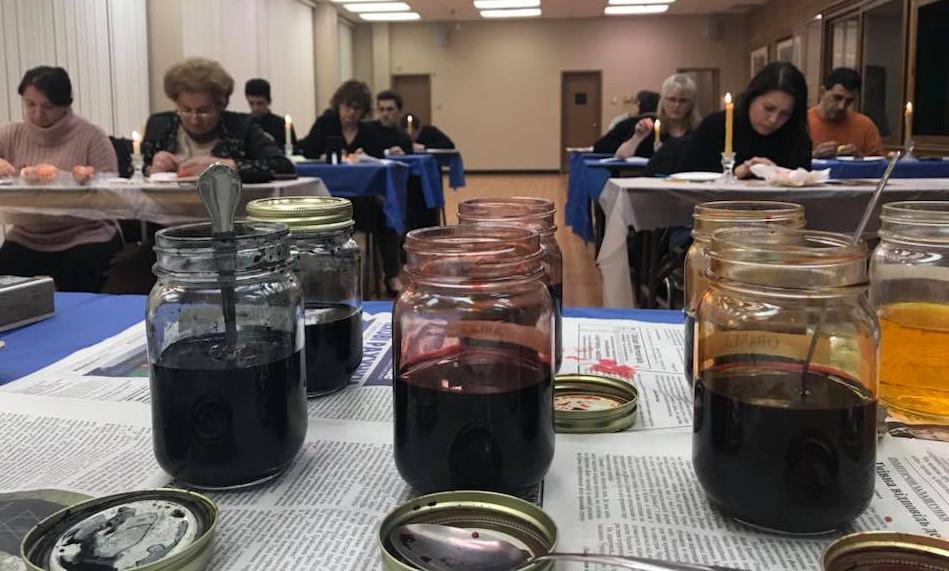 Scene of 2018 pysanka workshop