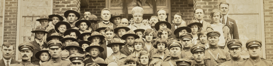 Detail of group photo in front of Ukrainian Orthodox Church in Butler, Penn. 1925