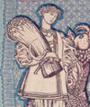 Woman holding a sheaf of wheat - detail of 1918 Ukrainian banknote